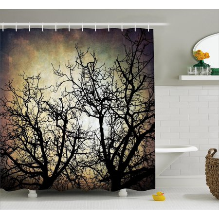 Horror Shower Curtain Scary Twilight Scene With Grunge Tree Branch Silhouette Over Dirty Night Sky