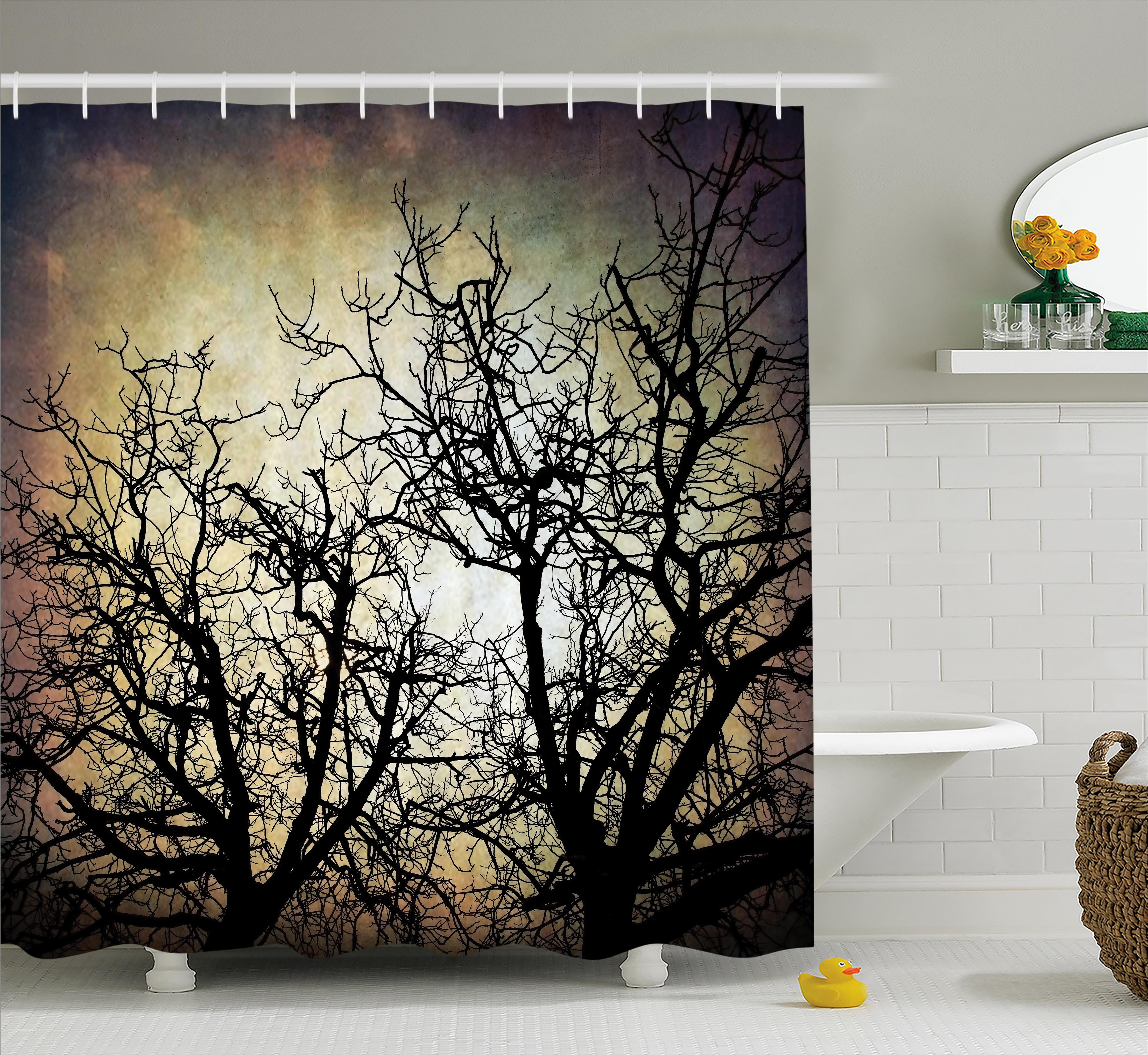 Horror Shower Curtain, Scary Twilight Scene with Grunge Tree Branch Silhouette over Dirty Night Sky Image, Fabric Bathroom Set with Hooks, 69W X 75L Inches Long, Sepia Black, by Ambesonne