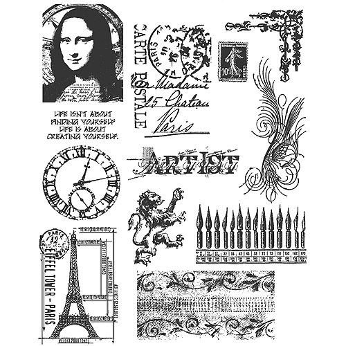 Tim Holtz Large Cling Rubber Stamp Set
