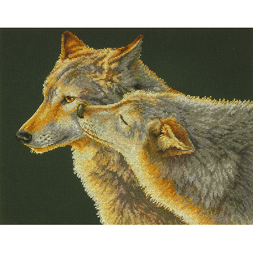 """Dimensions Wolf Kiss Counted Cross Stitch Kit, 14"""" x 11"""", 14-Count"""