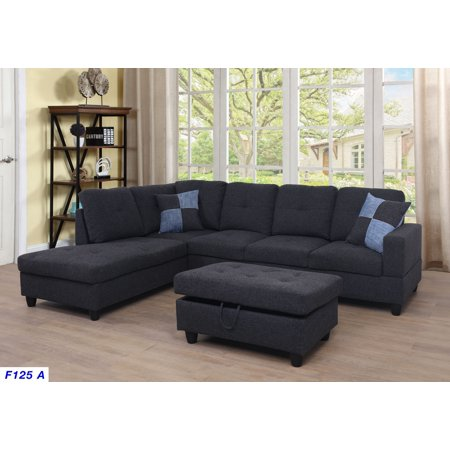 Angello Left Facing Sectional Sofa with Ottoman, Midnight Grey