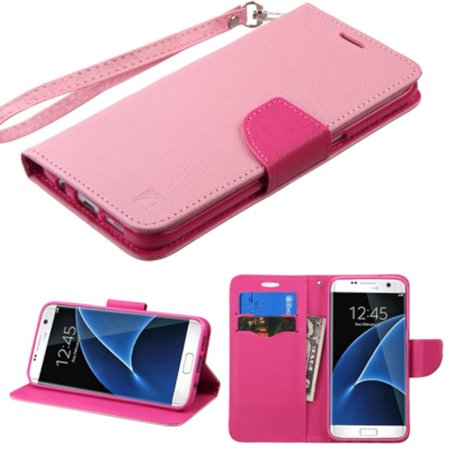 837c9f894d6 Samsung Galaxy S7 Edge Case, by Insten Book-Style Leather Wallet Cover Case  Lanyard with card slot For Samsung Galaxy S7 Edge case cover - Walmart.com