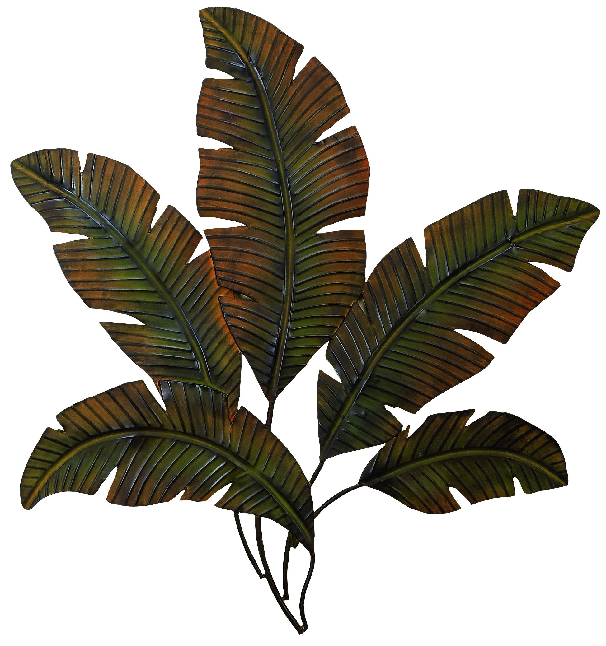 Decmode Nature-Inspired 35 Inch Metal Palm Leaves Wall Decor by DecMode