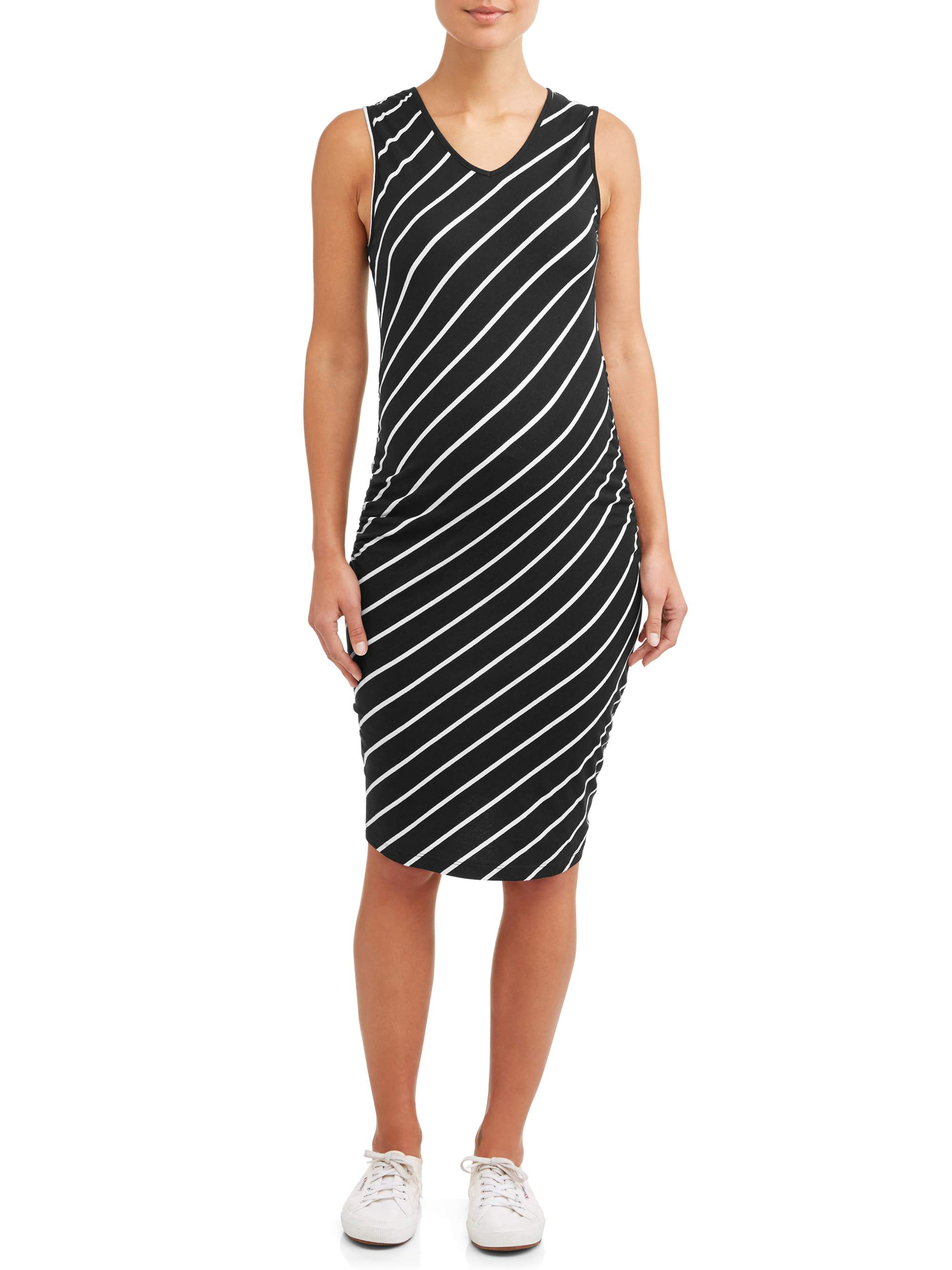 Maternity Stripe V-neck Sleeveless Knit Dress - Available in Plus Sizes