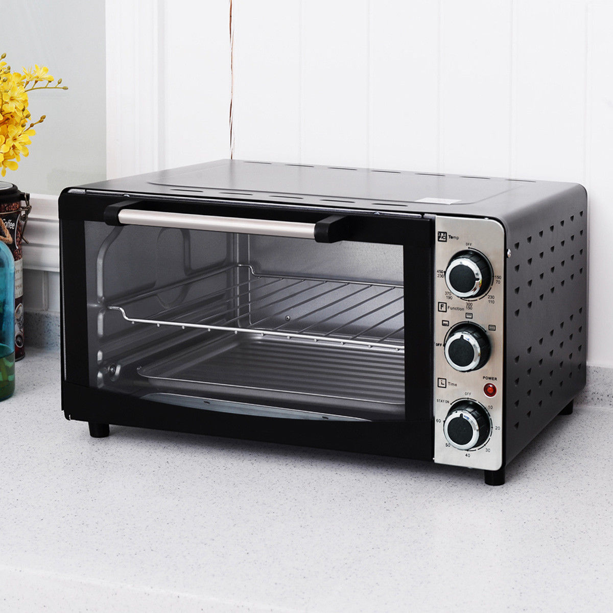 Costway 1300W Electric Toaster Oven Broiler Pizza 20L Countertop with Drip Pan