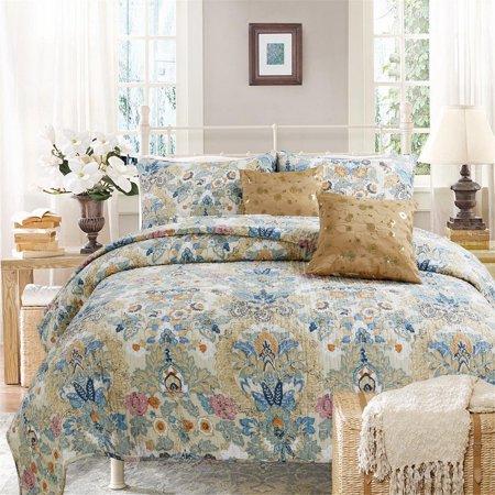 Peacock Garden 100% Hypoallergenic cotton 3 piece Floral Quilt Set Bedroom Quilt Bedding Full/Queen (Floral Cotton Quilt Set)