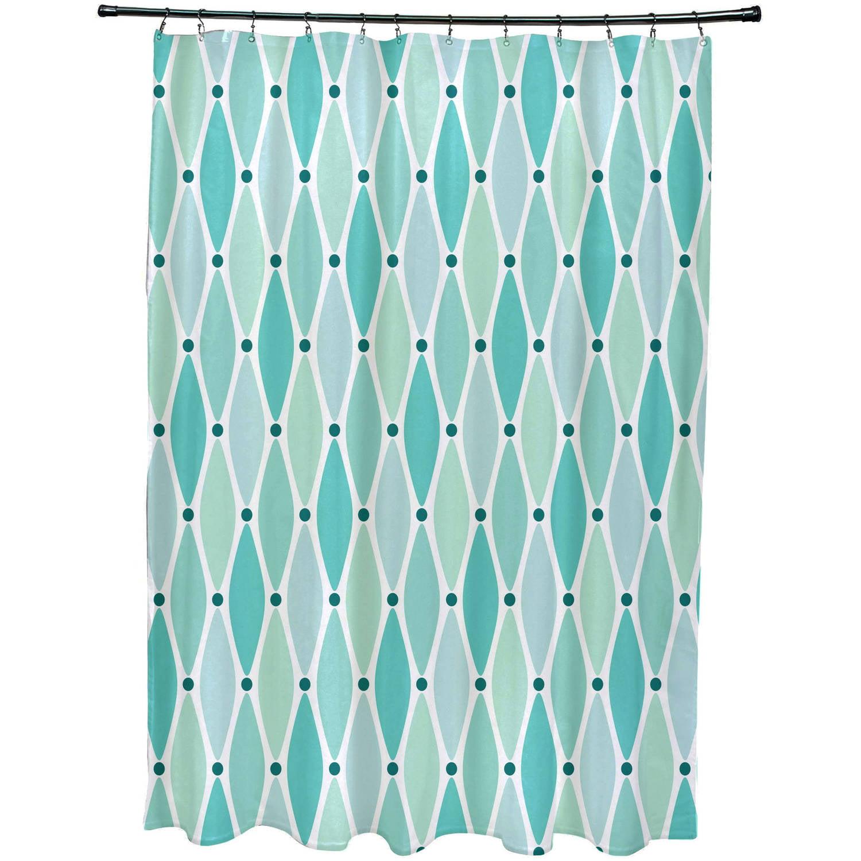 Blue E by design SCGN211BL15 Geometric Print Shower Curtain