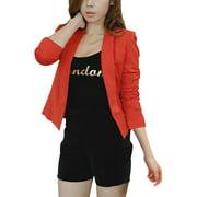 Women Dark Orange Shawl Collar Open Front Casual Cropped Blazer S