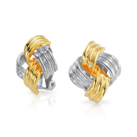- Square Woven Love Knot Clip On Earrings Rhodium Plated