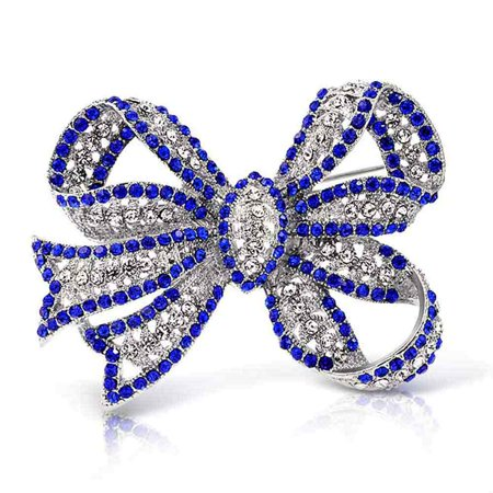 Blue Dragonfly Brooch (Large Fashion Statement Royal Blue Crystal Ribbon Bow Brooch Pin For Women Silver Plated)