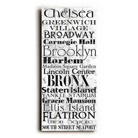 "ArteHouse Decorative Wood Sign ""NYC"" by Artist Jill Meyer, 10"" x 24"", Planked Wood"