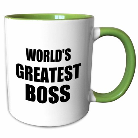 3dRose Worlds Greatest Boss. black text. great design for the best boss ever - Two Tone Green Mug, (The Best Text Tones)