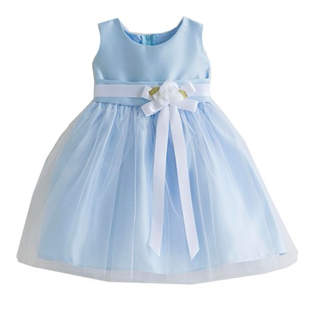 Sweet Kids Baby Girls Light Blue Floral Accent Flower Girl Dress - Light Blue Kids Dress
