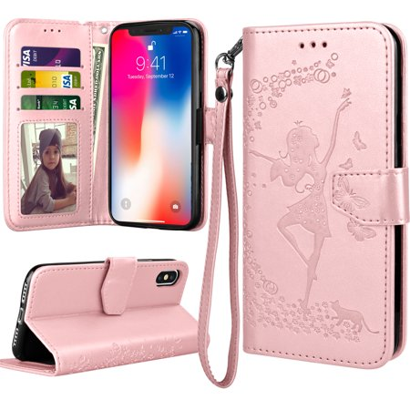 iPhone X Case, iPhone X Wallet Case For Girls, iPhone X Flip Cover, Tekcoo Luxury Premium PU Leather [Rose Gold] ID Cash Credit Card Slots Holder Clutch Carrying Cases w/ Kickstand & Lanyard