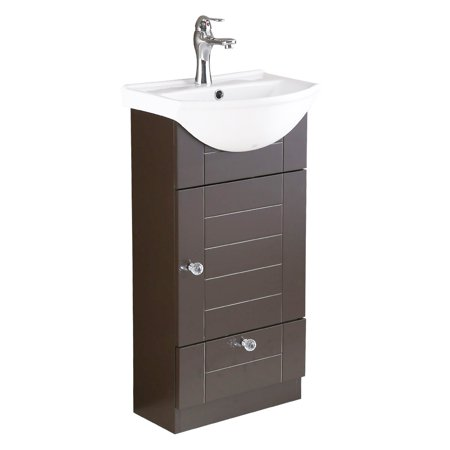 Small Dark Oak Vanity Cabinet White Bathroom Sink with Faucet And Drain