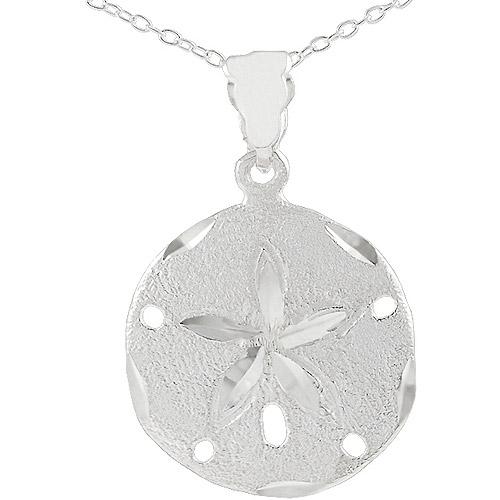 "Brinley Co. Large Sterling Silver Sand Dollar Pendant, 18"""