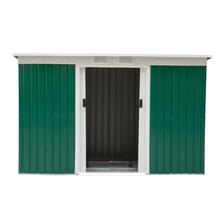 Outsunny 9 X 4 Outdoor Metal Garden Storage Shed Green White