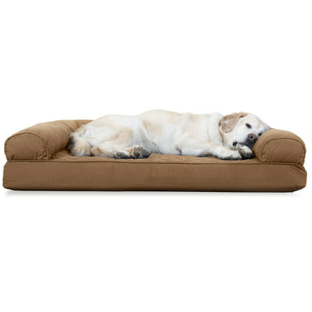 FurHaven Pet Dog Bed | Cooling Gel Memory Foam Orthopedic Quilted Sofa-Style Couch Pet Bed for Dogs & Cats, Toasted Brown,