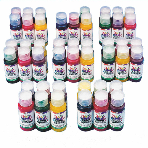 1 oz Color Splash! Asst. Washable Glitter Paint, Pack of 48