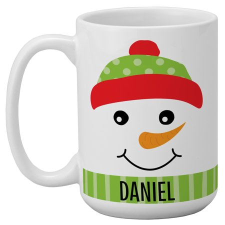 Personalized Cheery & Bright Snowman Christmas Mug-Knit Hat ()