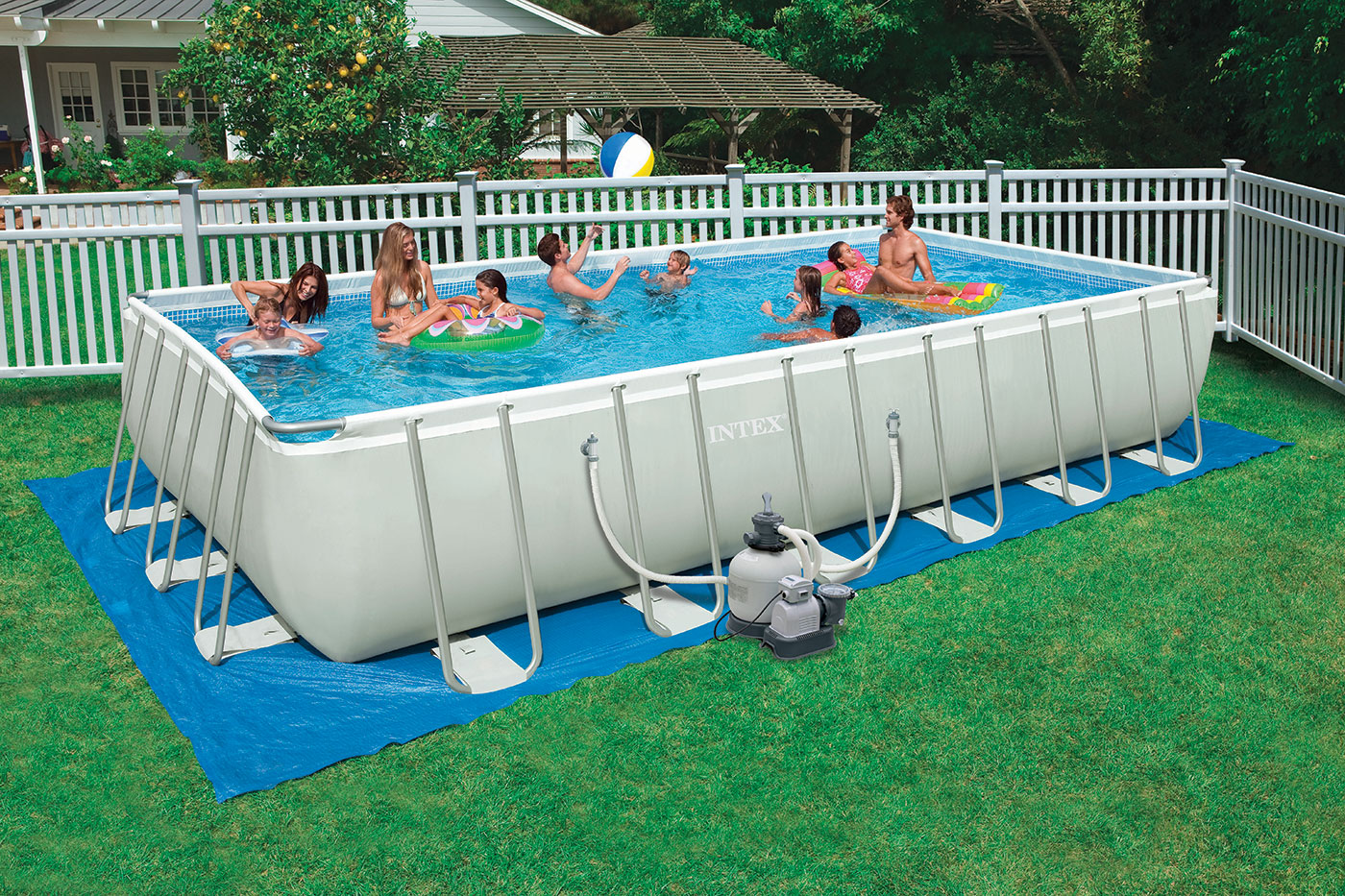 Intex 24-Foot by 12-Foot by 52-Inch Rectangular Ultra Frame Pool ...