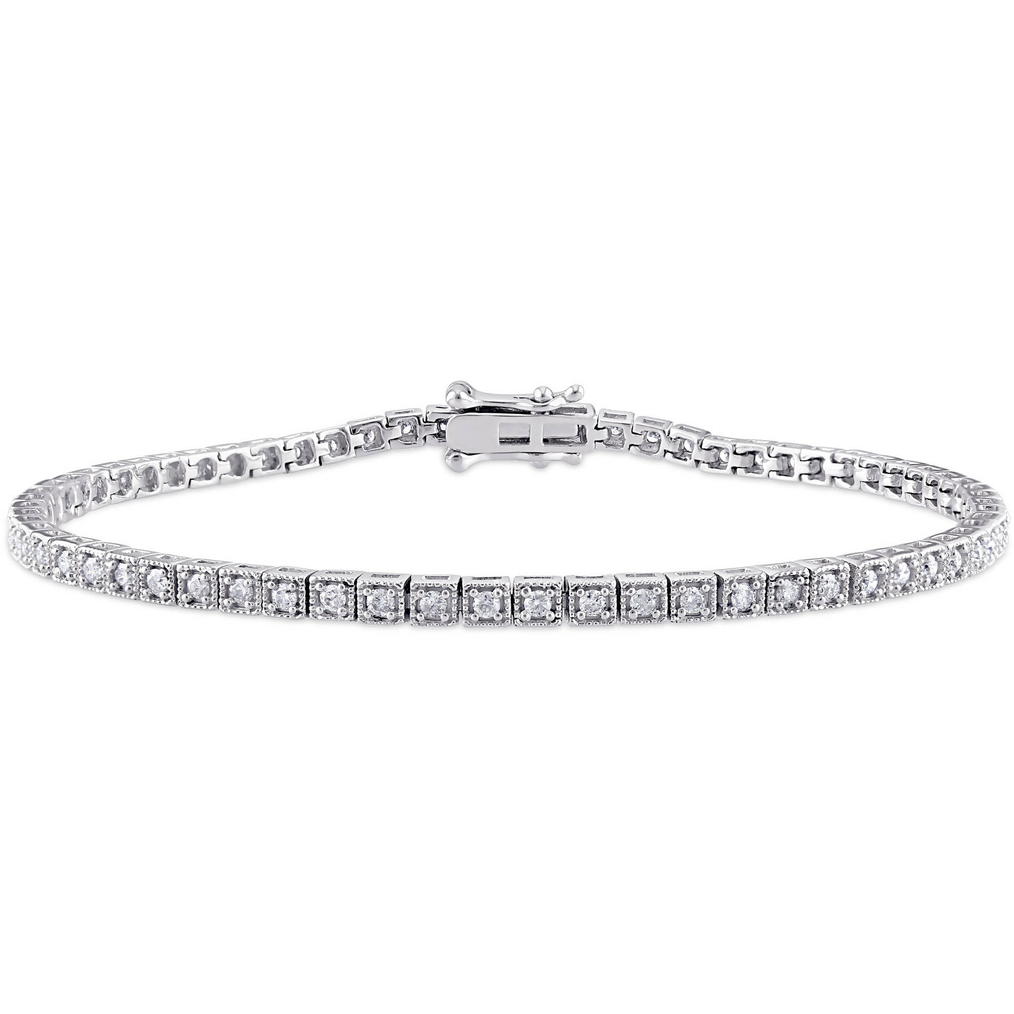 "Miabella 1 Carat T.W. Diamond 10kt White Gold Tennis Bracelet, 7.25"" by Miabella"
