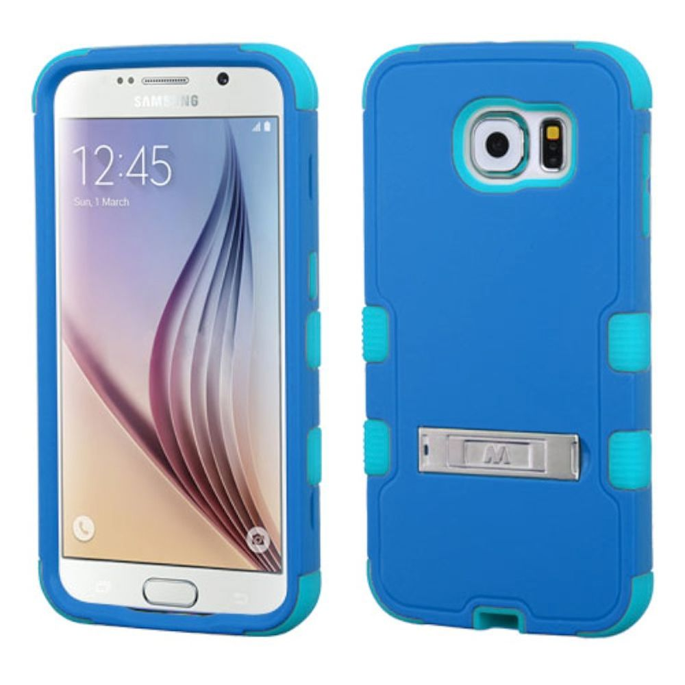 Insten Hard Dual Layer Rubber Silicone Case w/stand For Samsung Galaxy S6 - Blue/Teal Green