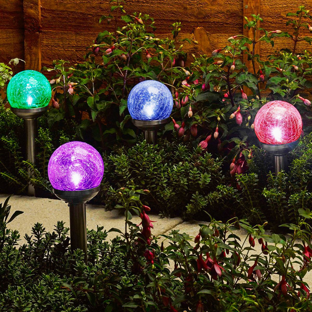 Solar Colour Changing Garden Lights Ball Crackle Glass Style Stainless Steel