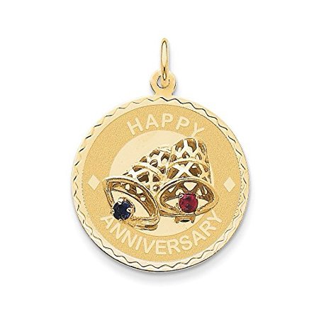 "14K Yellow Gold"" Happy Anniversary"" with Bells Disc Charm Pendant MSRP $901"