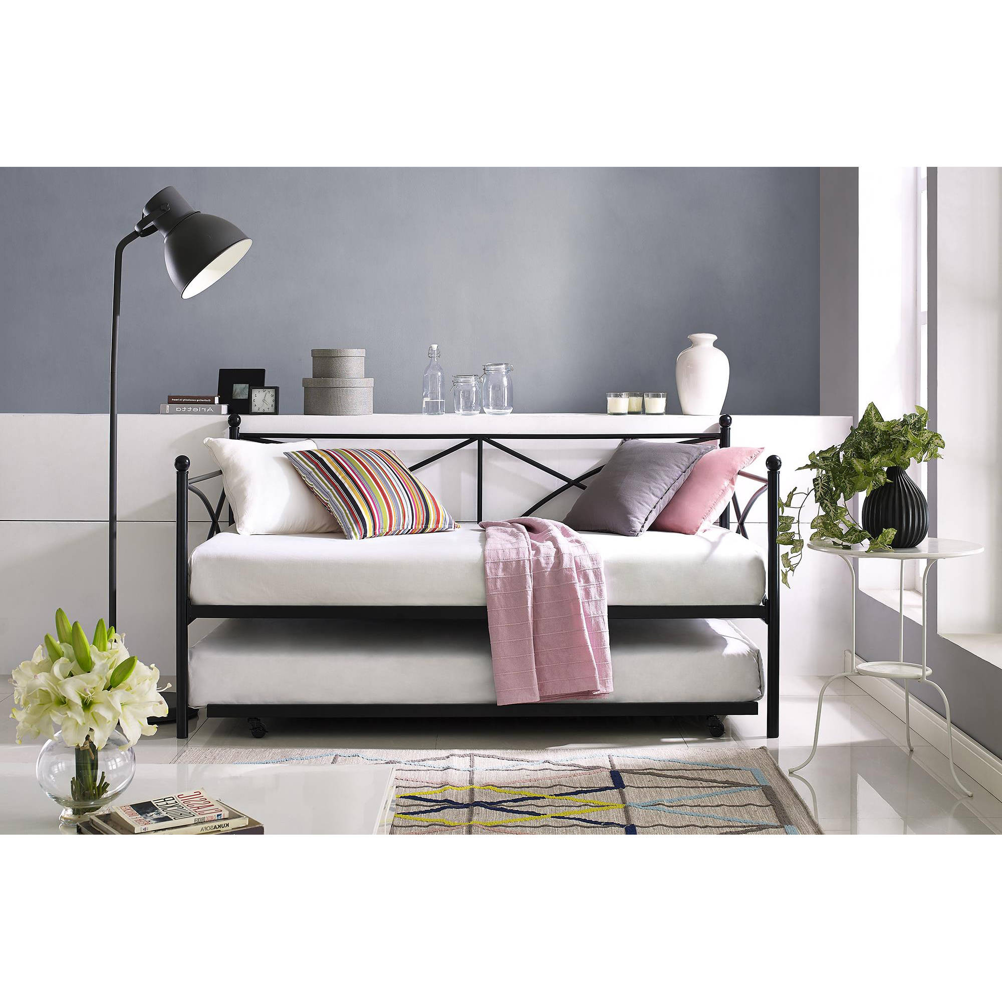 Mainstays Monaco Metal Twin Daybed and Trundle, Black