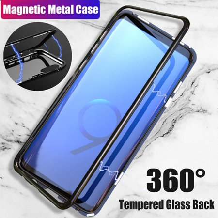 Magnetic Adsorption Cover case for Samsung Galaxy S7 Edge Luxury Tempered Glass Case (Samsung S7 Edge Best Themes)
