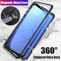 Magnetic Adsorption Cover case for Samsung Galaxy Note9 / Note 8 / S7 edge / S8 / S9 / S8 Plus / S9 Plus Luxury Tempered Glass Case