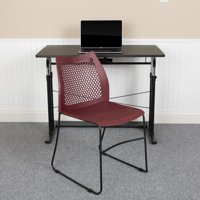 Flash Furniture HERCULES Series 5 Pack 661 lb. Capacity Burgundy Stack Chair with Air-Vent Back and Black Powder Coated Sled Base