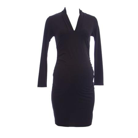 OLIAN Maternity Women's Black Ruched Sides Long Sleeve V-Neck Dress