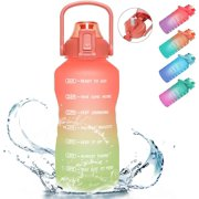PASER Half Gallon/64oz Motivational Water Bottle with Time Marker & Straw, Leakproof Tritan BPA Free Water Jug (2.4L) Ensure You Drink Enough Water Daily for Fitness, Gym and Outdoor Sports