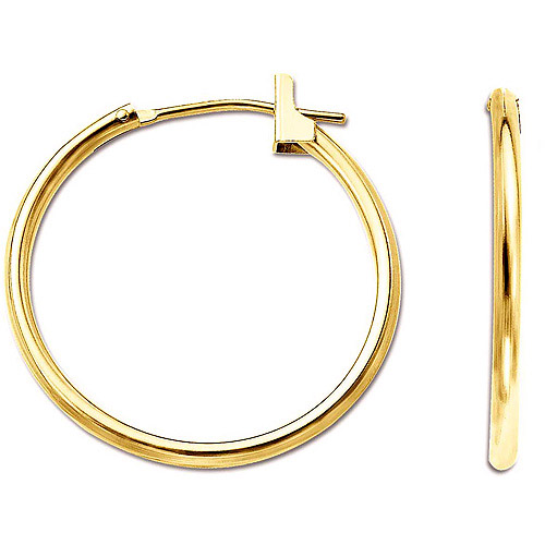 Simply Gold 14kt Yellow Gold 1.5mm x 21mm Hoop Earrings