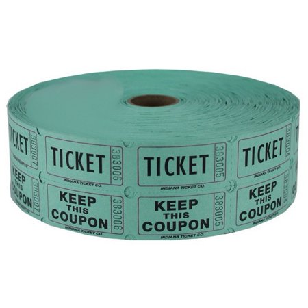Green Double Raffle Ticket Roll - Paper Bag Tickets