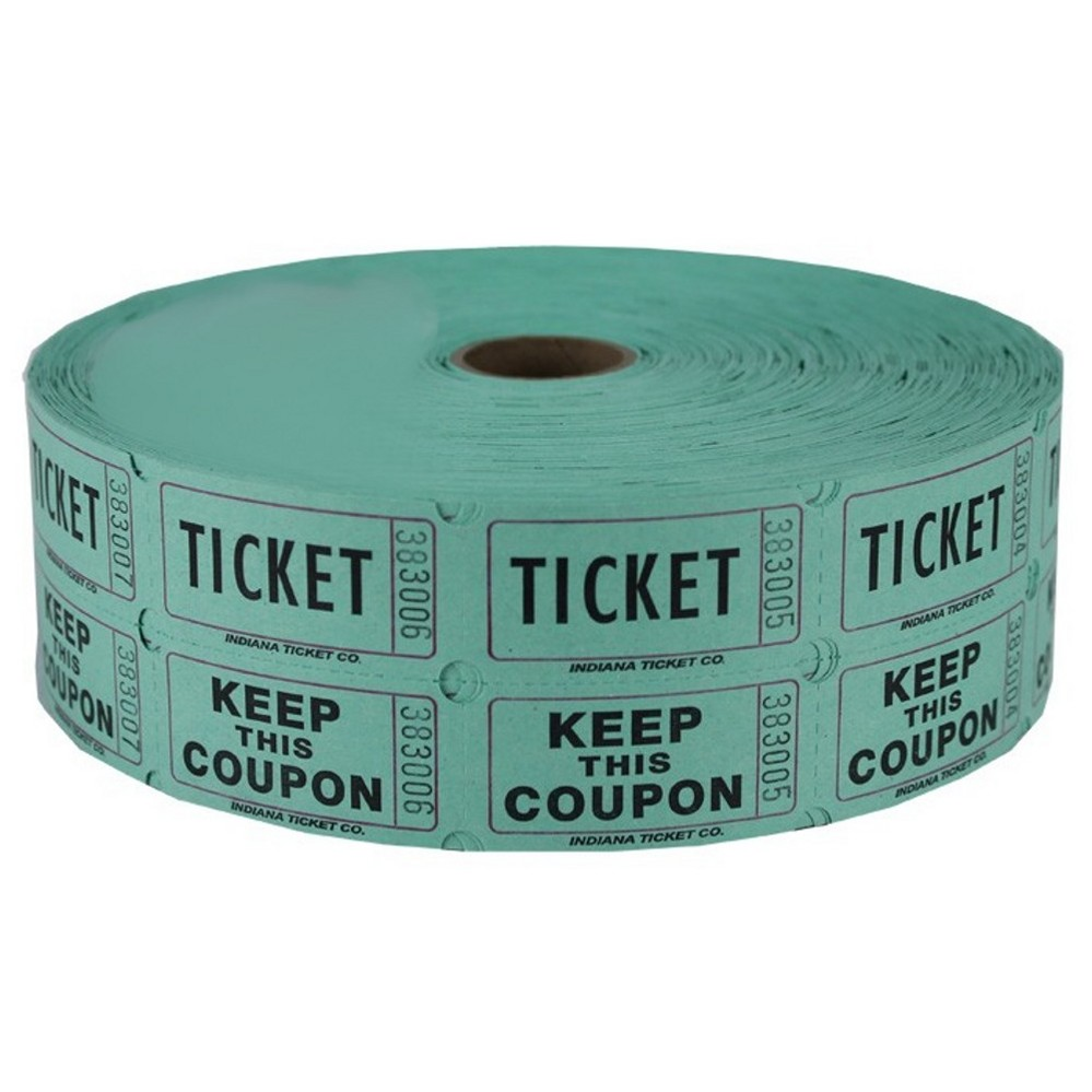 Green Double Raffle Ticket Roll