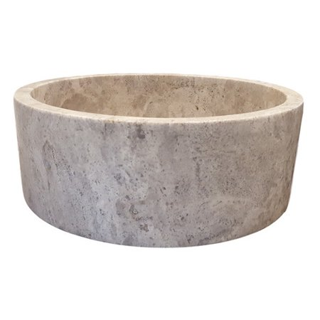 Tashmart cylindrical natural stone circular vessel for Are vessel sinks out of style