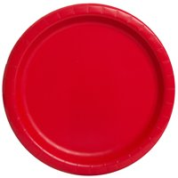 Red Paper Dinner Plates, Round, 9 in, 20ct