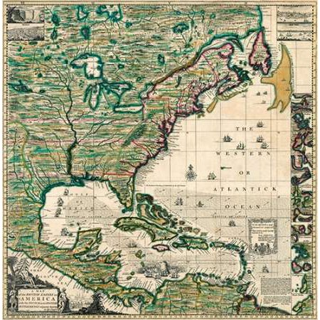 America Septentrionalis A Map of the British Empire in America 1733 Poster Print by Henry