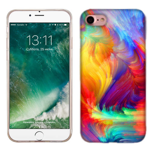 MUNDAZE Feather Paint Case Cover For Apple iPhone 8