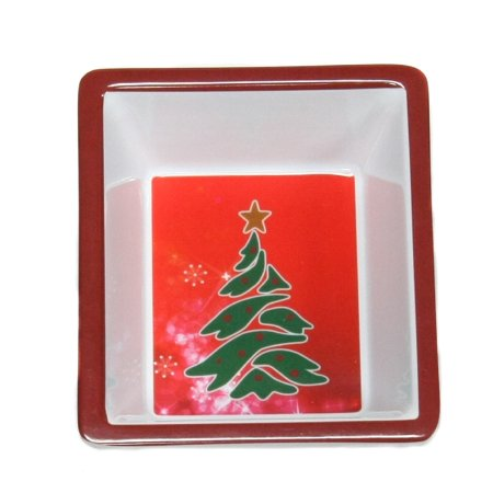 Square Christmas Tree Holiday Dish, 6