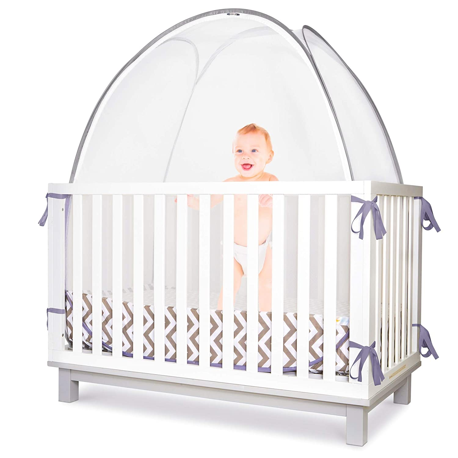 Baby Safety Crib Tent Toddler Crib Topper To Keep Baby From Climbing Out Clear View See Through Mesh Crib Netting Mosquito Net Pop Up Crib Tent Canopy To Keep
