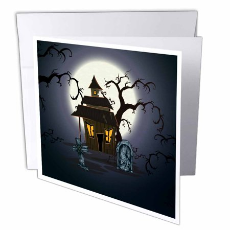 3dRose Spooky Haunted House Halloween Scene With Gravestones and Spooky Trees, Greeting Cards, 6 x 6 inches, set of 12 (Funny Gravestone Quotes Halloween)