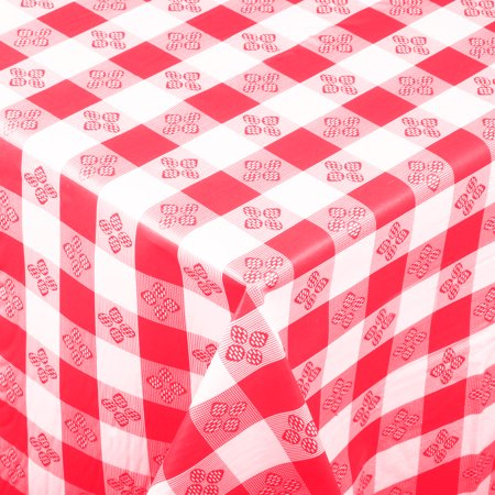 Rectangular Red Checkered Plastic Tablecloth with Cotton Lining, 52
