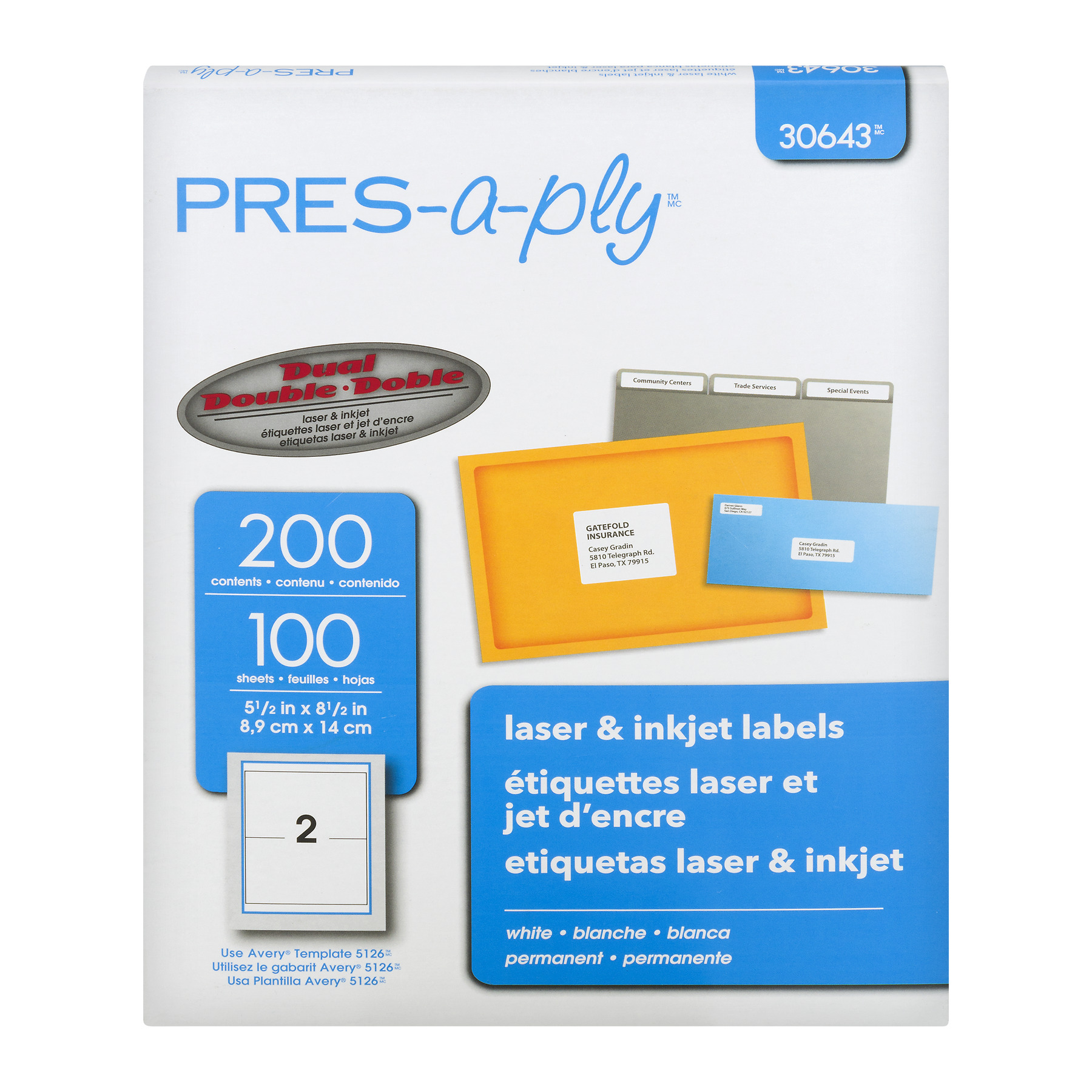 Avery 30643 Pres - A - Ply Laser & Inkjet Labels - 200 CT200.0 CT