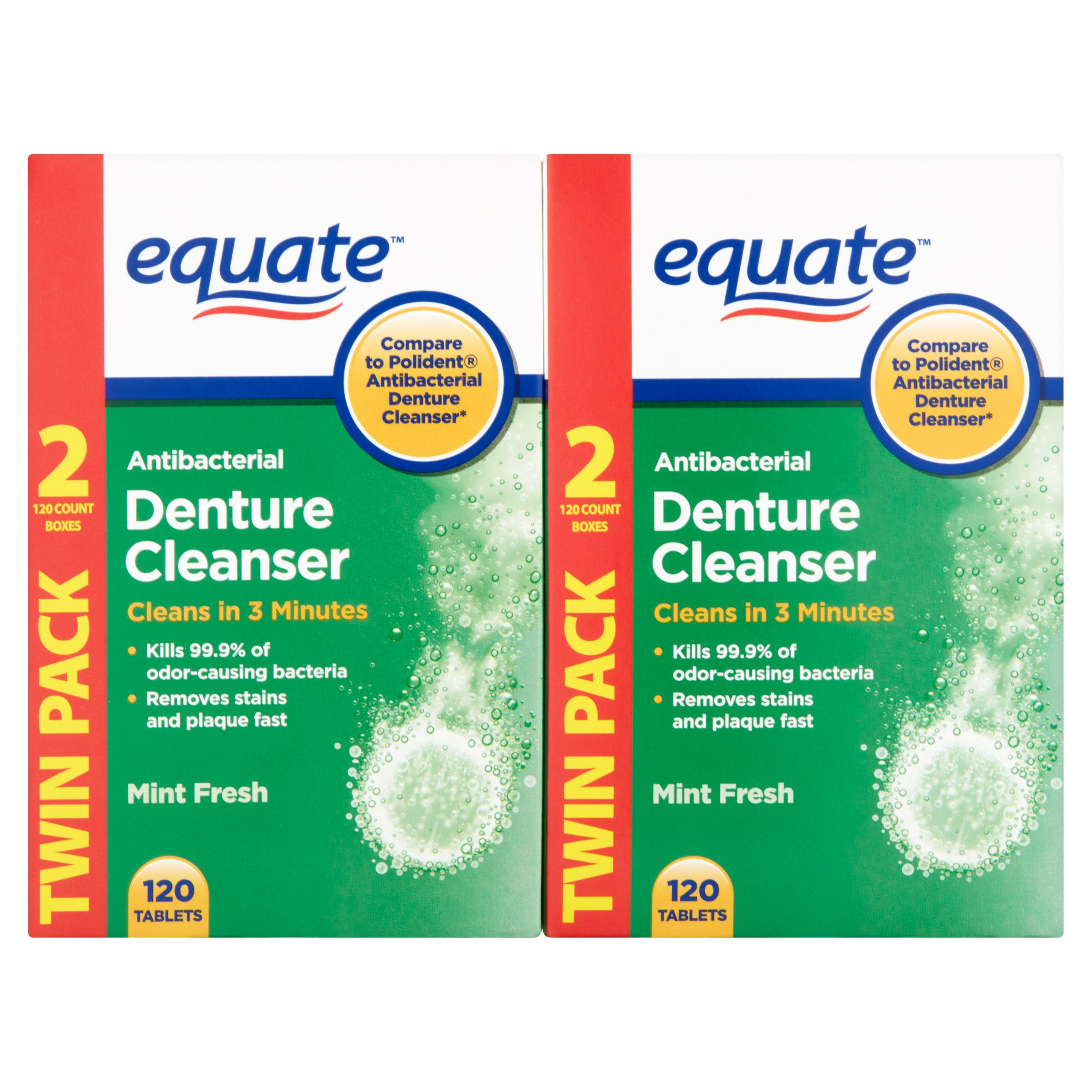 Equate Antibacterial Mint Fresh Denture Cleanser Tablets, 240 Ct