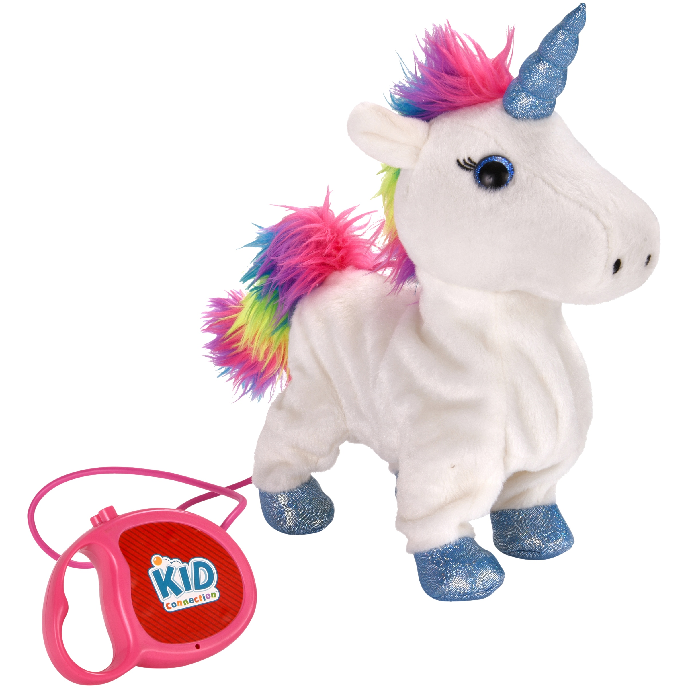 "Kid Connection 9"" Plush Walking Unicorn, White & Rainbow"
