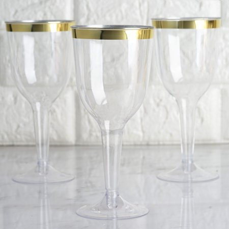 BalsaCircle 12 pcs 6 oz Clear with Gold Rim Plastic Champagne Glasses - Disposable Wedding Party Catering Tableware